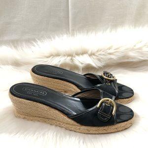 Coach Korrin Black Espadrille Wedge Sandals
